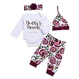 Aediea 4pcs/Set Newborn Baby Jumpsuit Letters Print Infants Cotton Soft Clothes Set Floral Print Romper Pants Headband Hat Outfits (0-3m)