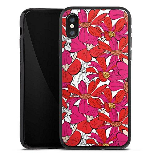 Apple iPhone X Silikon Hülle Case Schutzhülle Blumen Muster zeichnung Silikon Case schwarz