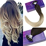 """LaaVoo 16"""" Prebonded Flat Tip Fusion Extensions Marron Fonce Ombre a Bleach Blonde #4/60 Extension Keratine Remy Hair Individuel Droit Total 50Grammes"""