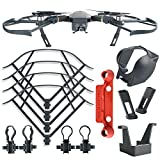 Kuuqa 4Pcs DJI Mavic Pro Protection Accessories Kit, Including Landing Gear Leg Height Extender, Lens Hood Gimbal Guard, Quick Release Propeller Prop Guard Bumper Protectors and Remote Controller Stick Thumb Protective Clip(DJI Mavic Not Included)