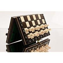 OSCURO MAGNÉTICA 28cm / 11in Pequeño Traveling Juego de ajedrez de madera con figuras magnetizados, hecho a mano clásico juego