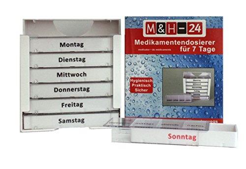 M&H-24 Pillentower Tablettenbox Pillendose für 7 Tage, Wocheneinteilung Tagesdosierer Pillen-/ Medikamentendosierer (2 Stück)