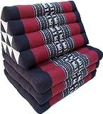 Guru-Shop Cuscino Thai, Cuscino Triangolo, Kapok, Letto da Giorno con 3 Cuscini - Nero/rosso, Cotone, 30x50x160 cm, Thai Cuscino/3 Pastiglie