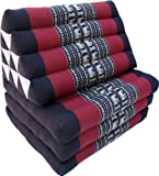 Guru-Shop Oreiller Thaï, Oreiller Triangle, Kapok, lit de Jour Avec 3 Coussins - Noir/rouge, Coton, 30x50x160 cm, Oreiller Thaï/3 Coussins