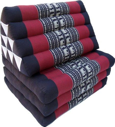 Guru-Shop Cojines, Cojines Tailandeses Triángulo, Kapok, Cama de día con 3 Soportes - Negro / Rojo, Algodón, 30x50x180 cm, Cojín Tailandés / 3 Soportes