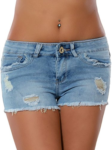 Damen Jeans Shorts Hot-Pants Kurze Sommer Hose Destroyed No 15891, Farbe:Blau, Größe:S / 36