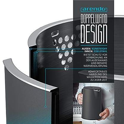 Arendo-Edelstahl-Wasserkocher-mit-Temperatureinstellung-40-100C-in-5-Schritten-Doppelwand-Design-Modell-ELEGANT-15-Liter-2200-W-Teekocher-mit-Temperaturanzeige-GS-Cool-Grey