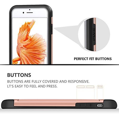 iPhone 6s Plus Hülle, Coolden® Slim Armor Kartenfach Doppelte Schutzschicht mit Kantenschutz 2 Karten Slot Bumper Card Case Schutzhülle für iPhone 6 Plus Handyhülle iPhone 6S Plus Tasche Rose Gold Rose Gold