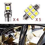 Pour koleos clio LED Lampe Ampoules Blanc Wedge Intérieur De Voiture Lumière Dôme...
