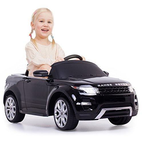 Elektro Kinderauto Original Lizenz Elektroauto elektrisches Kinderfahrzeug 2 Elektromotoren 12V Kinder Auto Spielzeug RC Range Rover Schwarz