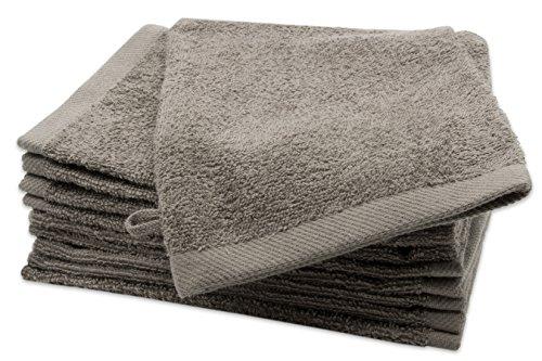 Zollner 10er Set Waschlappen Waschhandschuh aus Baumwolle, Taupe (Weitere verfügbar), ca. 16x21 cm, Serie Elba II