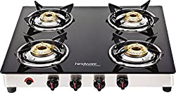 Hindware Neo GL 4B AI Stainless Steel 4 Burner Cooktop, Black
