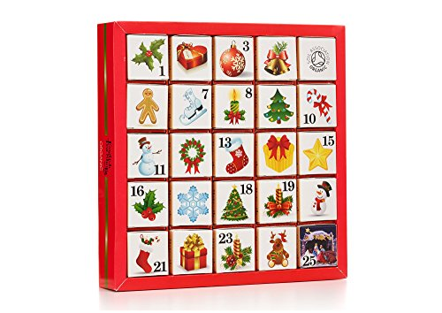 English Tea Shop Organic Christmas Ornaments Advent Calendar (Pack of 2, Total 50 Pyramid Tea Bags)