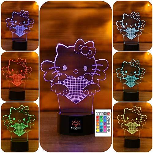 3D-Nachtlicht für Kinder, 7 Farben, 3D-LED-Lampe, mit Fernbedienung, Schlafzimmer-Tischlampe Modern hello kitty (Hello Lampen Schlafzimmer Kitty Für)