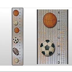 Growth Chart Basketball Baseball Football Soccer Ball Sports Wall Decal Vinyl Sticker. Kids Sport Height Measurement Charts Decals for Children's Nursery Baby's Room Decor Baby Walls Boys Bedroom Decorations Child's Stickers Girls Measure Growing Keepsake
