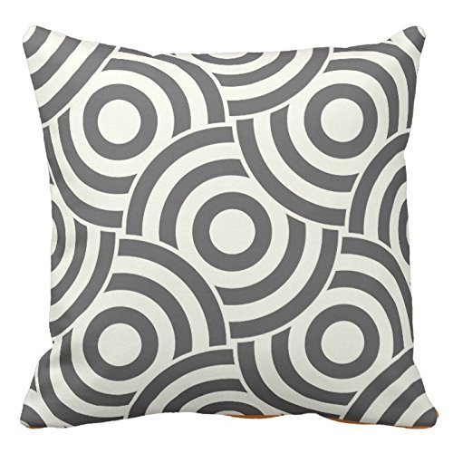 Personalized Throw Pillowcase 18 x 18 Gray and Ivory Circle Link Design Pillow CoverModern Pillow (Circles Ivory)