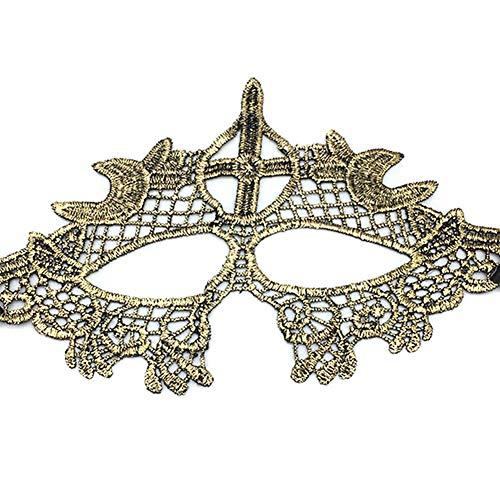 Bledyi Spitzenmaske, venezianische Augenmaske, für Halloween, Party, Kostüm, Ball, goldfarben, F, 13 * 25cm