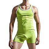 Herrenbody Einteiler Männerbody Sportbody Overall Fitness Unterwäsche Baumwolle Unterhemd Wrestlingbody Bodys Nachtwäsche Grün L