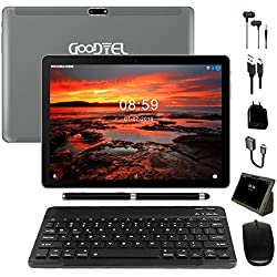 Tablette Tactile 10,1 Pouces GOODTEL Android 8.1 Tablette 64 Go de mémoire et 4 Go de RAM,4G LTE Dual SIM Call et 3 Slots (Double SIM+ SD),Écran IPS HD et Double caméra (WI-FI GPS Bluetooth)-Gris