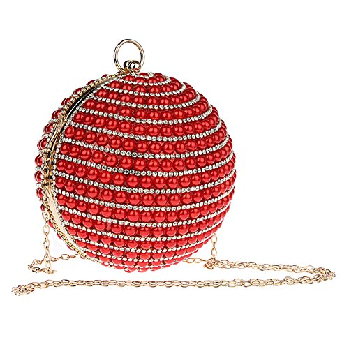 Genda 2Archer Bello Borsa del Partito Della perla Della Sfera Borsa di Cristallo di Strass del Rhinestone (14cm* 14cm) Rosso