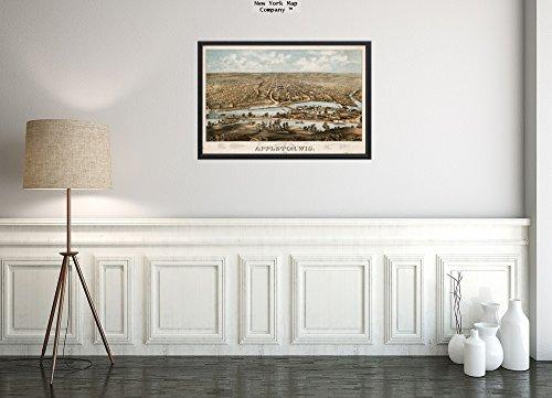 New York Karte Company (TM) 1874Karte Wisconsin|Outagamie|Appleton der Vogelperspektive Appleton-, WIS: 1874indiziert für Points|Vintage Fine Art Reproduction|Ready Zum Rahmen