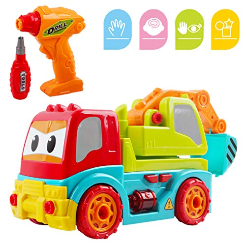 deAO Take Apart Construction RC Truck Playset 2in1 RC Vehicle with Electronic Drill Tool Building Set for Boys Girl Kids(Digger)