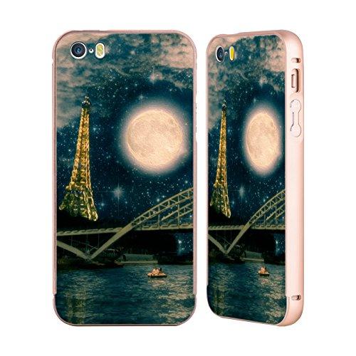 Ufficiale Paula Belle Flores You Are In My Heart Luna Oro Cover Contorno con Bumper in Alluminio per Apple iPhone 5 / 5s / SE Una Notte A Parigi