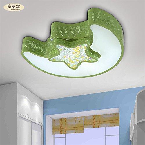 plafoniere moderno stile minimalista Luna soffitto casa per bambini camera da letto stanza potenza della lampada del soffitto 24-48w moda LED , green , 24w 46*36cm