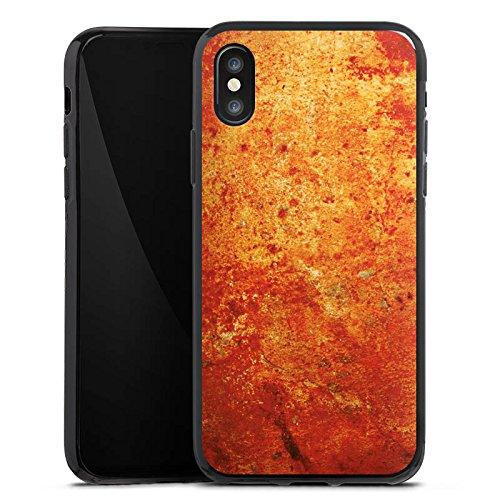 Apple iPhone X Silikon Hülle Case Schutzhülle Rost Struktur Look Silikon Case schwarz