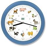 KOOKOO KidsWorld cielo-azul, reloj de pared genuino, sonidos de animales naturales, 12 animales de la ganja, ilustraciones Monika Neubacher-Fesser, sensor de luz