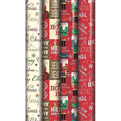 4tradizionale regalo, 10m, rotoli carta natalizia orsetto