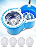 Peony Mop Bucket Magic Spin Mop Bucket Double Drive Hand Pressure with 4 Micro Fiber Mop Head Household Floor Cleaning & 4 Color May Vary (with Soap Dispenser)