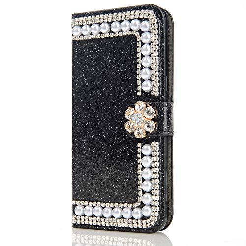 Bookstyle für Huawei P Smart 2019 /Honor 10 Lite,Stand Funktion Ledertasche Musterg Diamond Sparkle Slim Bling Glitter Glitzer Karteneinschub Magnetverschluss Flip Wallet Hülle Schutzhülle