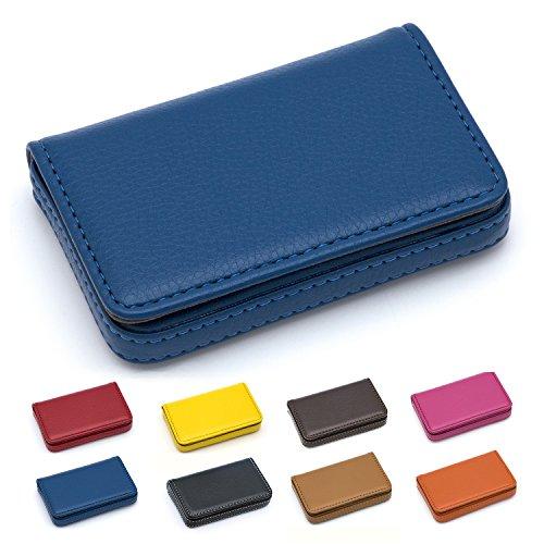 Padike Business Name Card Holder Luxus PU Leder, Business Name Card Halter Wallet Kreditkarte ID Schutzhülle/Halterung für Herren und Damen-Halten Sie Ihre Visitenkarten reinigen blau (Business Card Case Frauen)