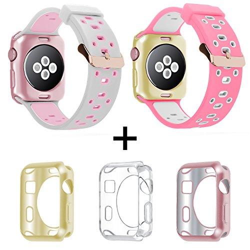 Banda de Apple Watch 42mm 38mm, oitom suave y transpirable silicona correas muñequera de repuesto con chapado en carcasa de TPU para Apple reloj Nike +, Series 1, series 2, deporte, Apple reloj edición Mix Color