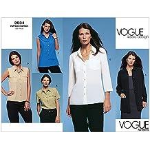 Vogue 2634 - Patrón de costura para confeccionar blusa de mujer (5 modelos diferentes,