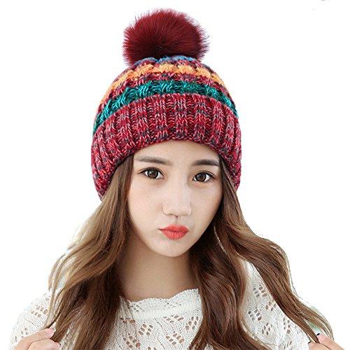 Damen Mütze mit Fellbommel Wurm Winter Style Beanie Strickmütze By Alxcio