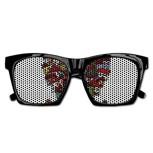 EELKKO Mesh Sunglasses Sports Polarized, Love Heart Shaped Sketch Style Buildings Neighborhood Colorful Retro Illustration,Fun Props Party Favors Gift Unisex