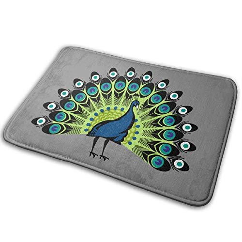 Dimension Art Peacock's Tail Memory Foam Bath Mat Non Slip Absorbent Super Cozy Soft Velvet Bathroom Rug Carpet, 15.7