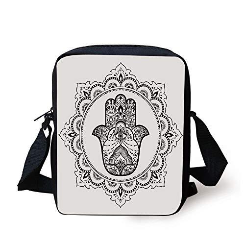 Hamsa,Mehndi Style Symbol in Round Mandala Oriental Artistic Ethnic Asian Floral Details,Black White Print Kids Crossbody Messenger Bag Purse - Asian Floral Print