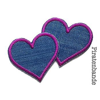 Set 2 Jeansflicken Herz Patch, 5,5 x 5 cm, Flicken zum aufbügeln für Mädchen