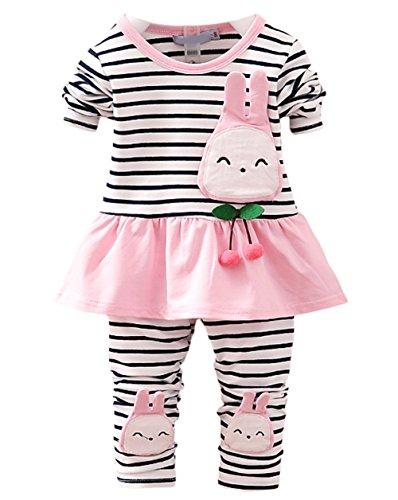Scothen Baby Kinder Mädchen Warme Baumwoll Blumen Lange Hülsen Wolljacke + lange Hosen Outfits Set Kleidung Set Bekleidungssets Baby (Halloween Rosa Kostüm Batgirl)