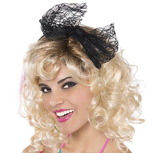 80s Black Lace Headband for Women's 80s Fancy Dress