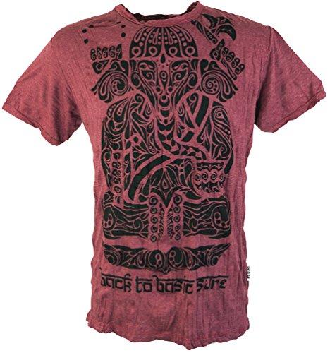 Guru-Shop Sure T Shirt Tribal Ganesha, Herren, Baumwolle, Sure T-Shirts Alternative Bekleidung Rostrot