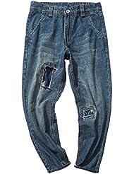 Los agujeros de la moda de la calle remendado pantalón babucha de jeans hombres retro pie,M