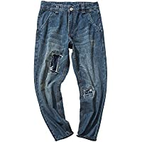 RIVI Los Agujeros de la Moda de la Calle remendado pantalón Babucha de Jeans Hombres Retro pie,M