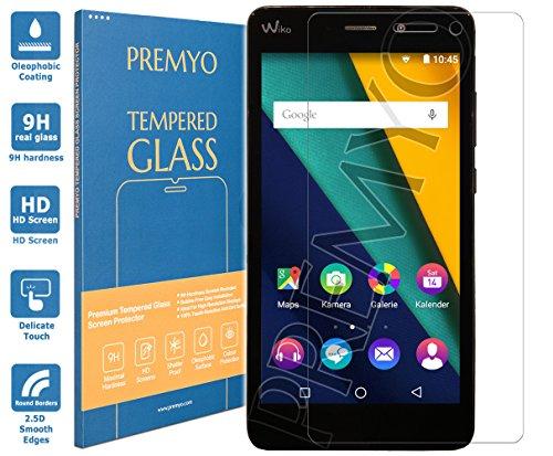 PREMYO Panzerglas Schutzglas Bildschirmschutzfolie Folie kompatibel für Wiko Pulp Fab 4G Blasenfrei HD-Klar 9H 2,5D Gegen Kratzer Fingerabdrücke