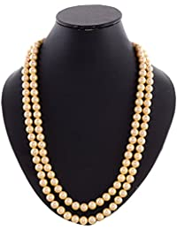 Kastiya Jewels Two Layer Golden Colored Shell Pearl Moti 8MM Beads Wedding Mala Necklace Chain For Women & Girls