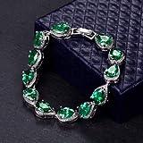 FidgetGear - Juego de Pendientes y Pulsera para Mujer, diseño de Pera, Color Verde Esmeralda, Bracelet