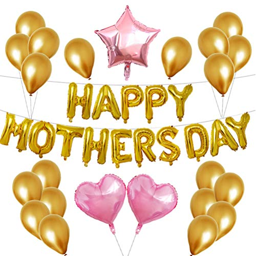 (Amosfun Muttertag Ballon Banner Stern Folienballon Buchstabenballon Herzballon Latexballons Luftballons Happy Mothers Day Party Deko(Golden))